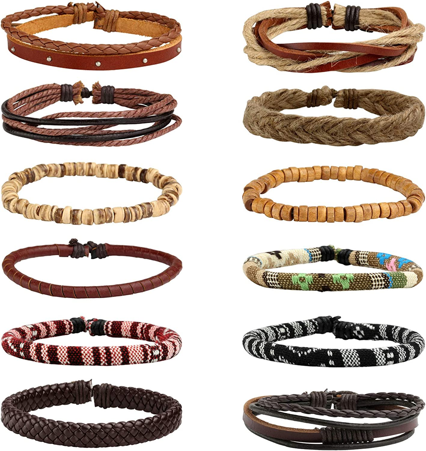 MILAKOO 12pcs Men Women Linen Hemp Cords Wood Beads Ethnic Tribal Bracelets Leather Wristbands