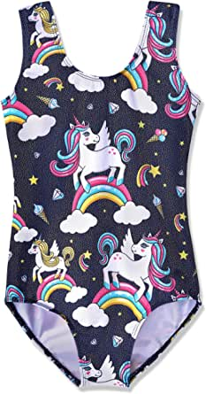 Gymnastic Leotards for Girls Dance Wear Sparkle Unicorn Rainbow Fancy Mermaid Pink Purple Clouds