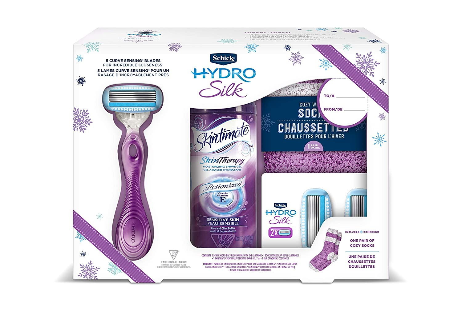 Schick Hydro Silk Razor Gift Set With 1 Hydro Silk Razor, 3 Hydro Silk Refills, 1 Skintimate Shave Gel, 1 Pair Of Cozy Socks, 0.54 Kilogram ENEST W301015902