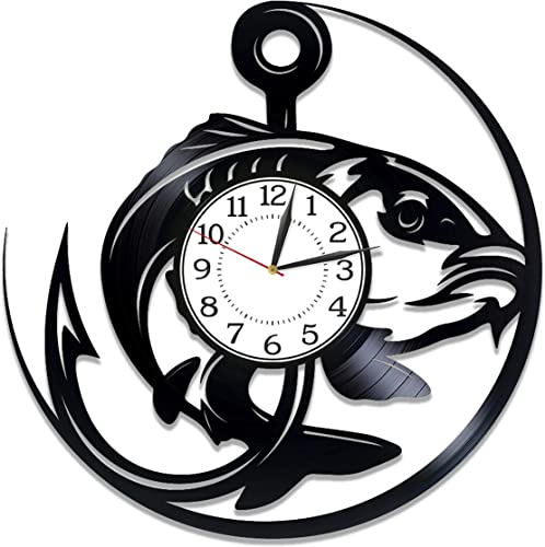 Kovides Fishing Vinyl Clock 12 Inch