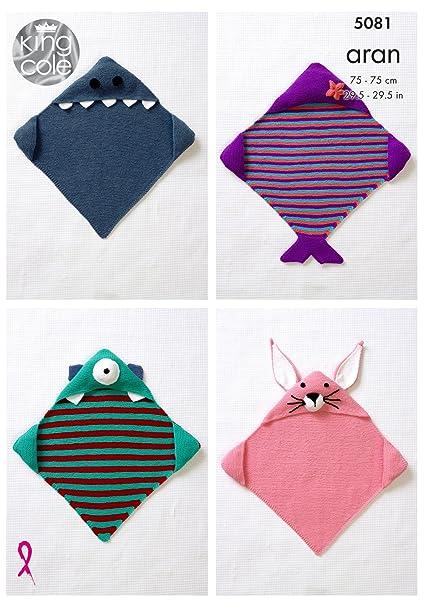 Amazon King Cole Baby Aran Knitting Pattern Hooded Blankets