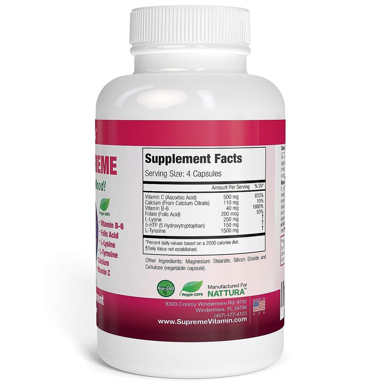 5-HTP SUPREME - For Positive Mood, Relaxation and Appetite Control (with 5-HTP, L-Tyrosine, L-Lysine, Vitamin B6, Folate (Folic Acid), Vitamin C (Ascorbic ...