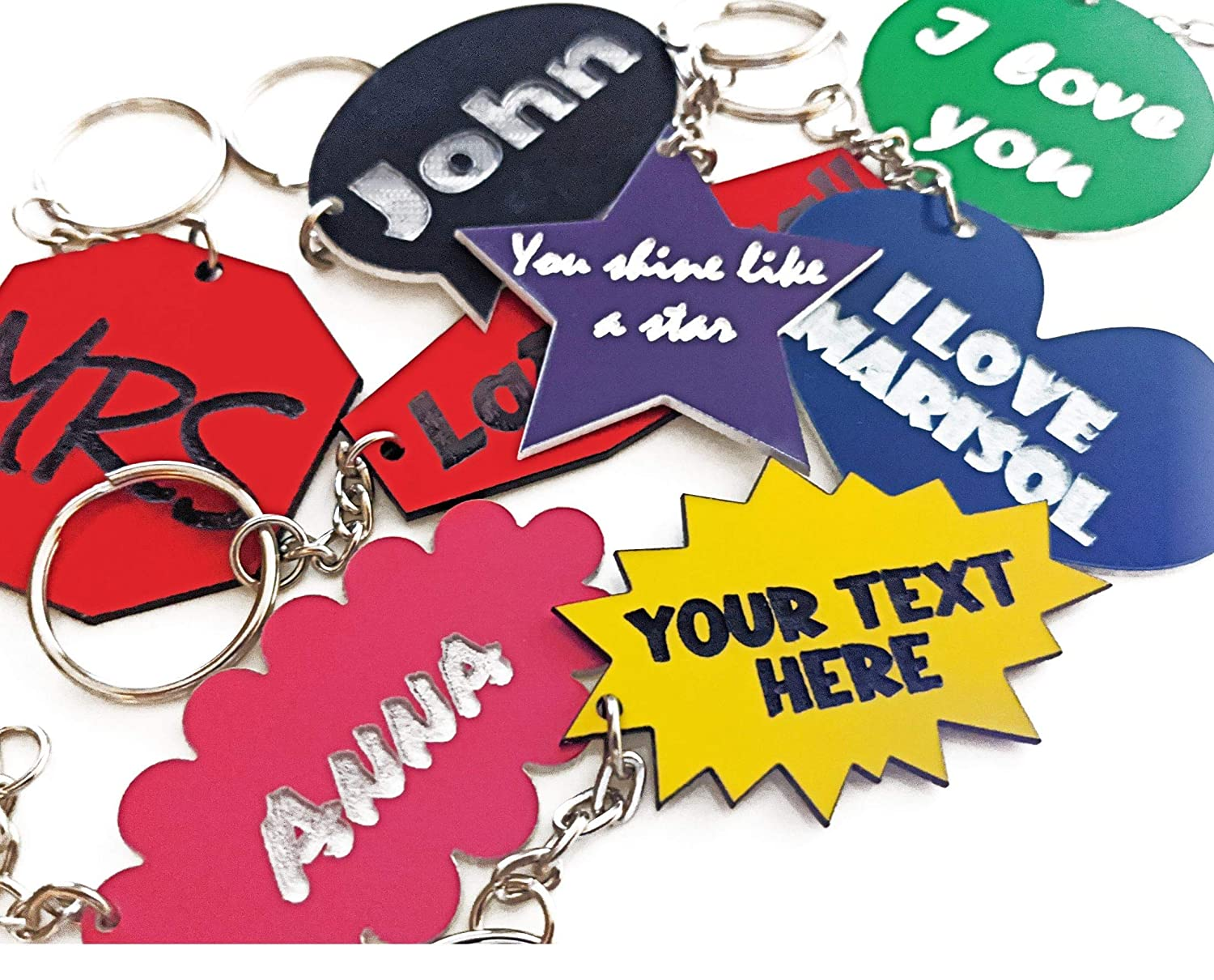Custom Name or Text Keychain or Tag Multiple Shapes and Colors Available