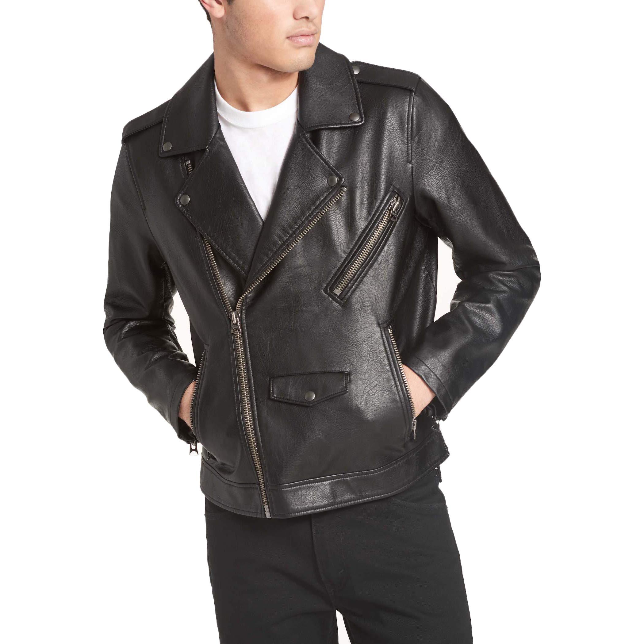 Levi's Men's Faux Leather Motorcycle Jacket, Black, Large by Levi's