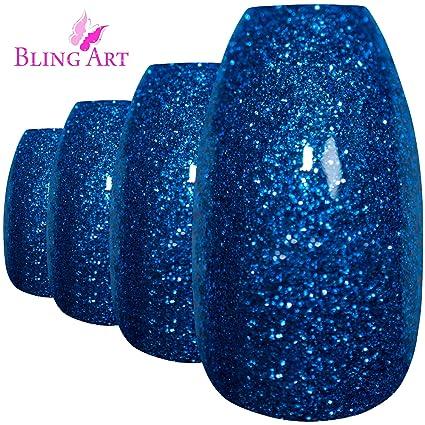 Bling Art Uñas Postizas Azul Gel Bailarina 24 Ataúd Longe Falsas puntas acrílicas con pegamento