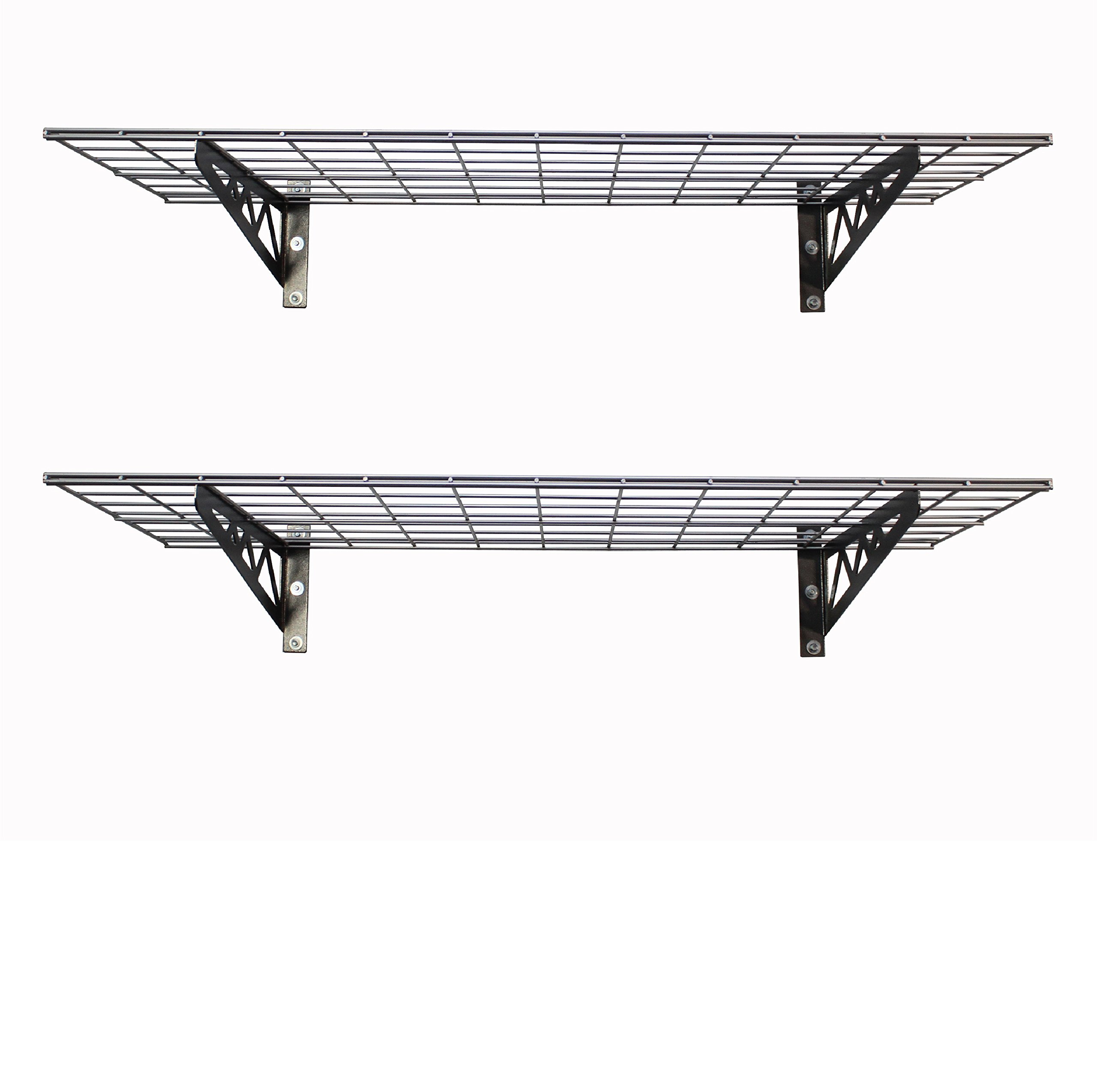 SafeRacks Wall Shelves - Hammertone 2 Pack with Accessories (18'' x 48'')