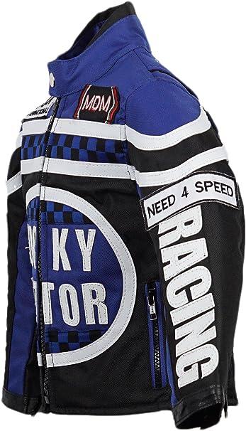 Mdm Biker Jacke Für Kinder Motorradjacke In Blau Racing Jacke Bekleidung
