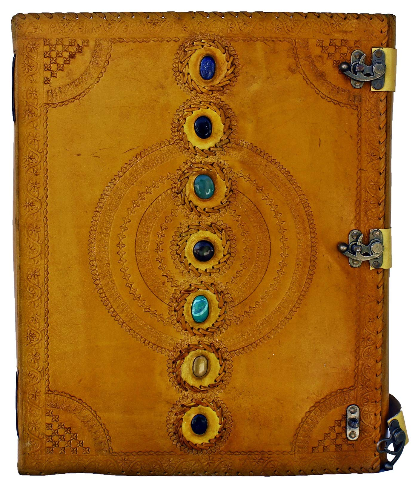 prastara Seven Chakra Medieval Stone Embossed Handmade Jumbo Leather Journal Book of Shadows Notebook Office Diary College Poetry Sketch (Yellow, 13x18)