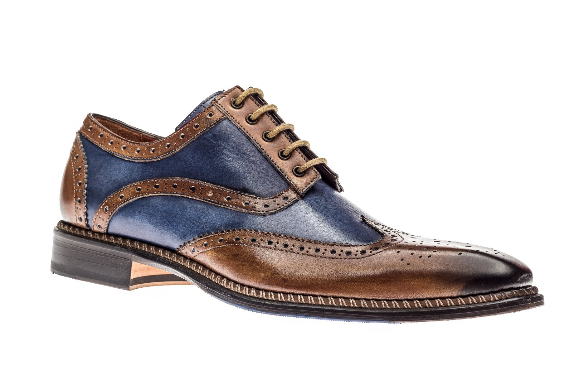 Jose Real Shoes Veloce Collection | Mens Oxford Brown and Blue Genuine Real Italian Leather Dress Shoe | Size EU 43