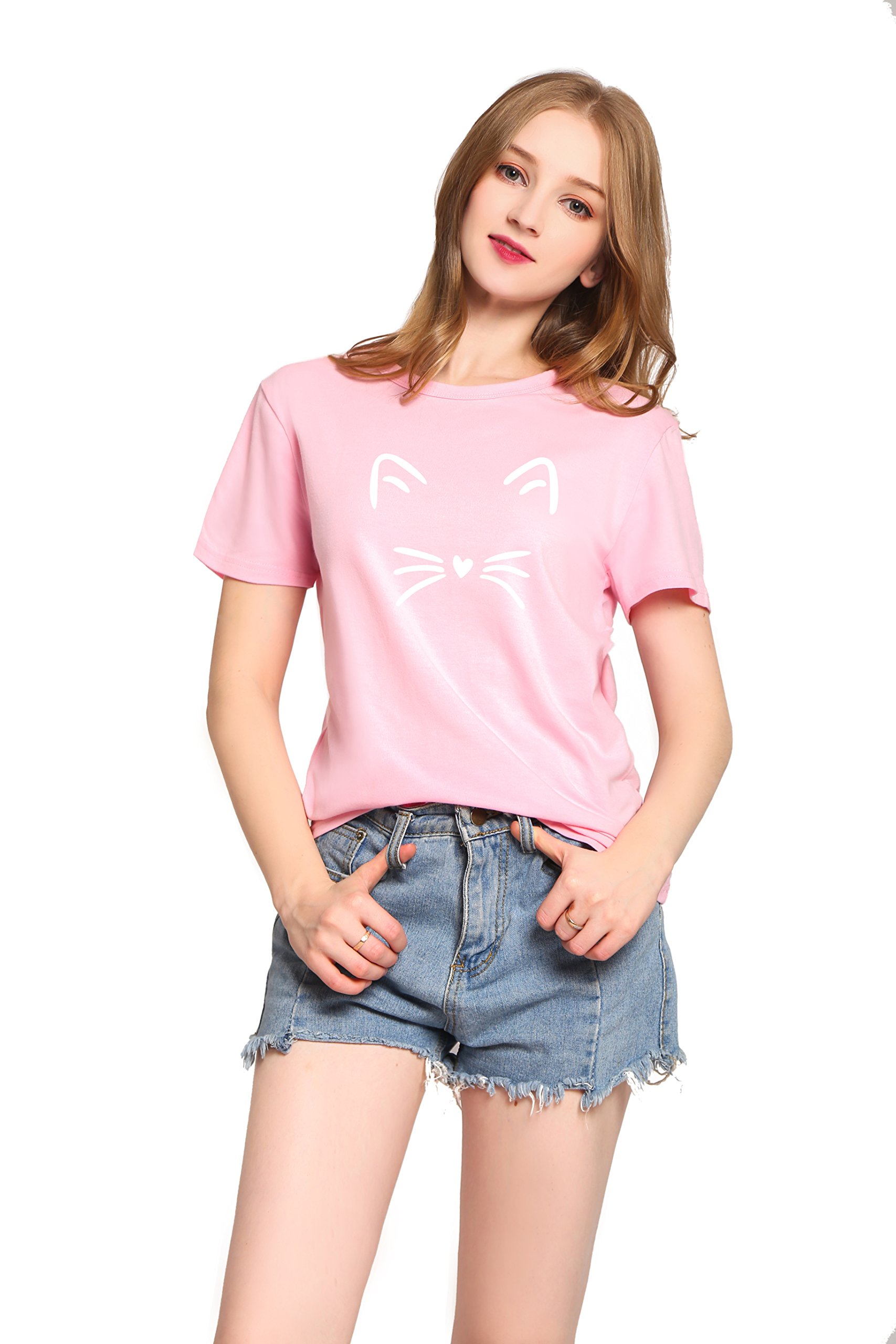 PINJIA Womens Cute Letter Printed Graphic Funny Tshirts Top Tees(MX15)(XXL, Pink Cat)