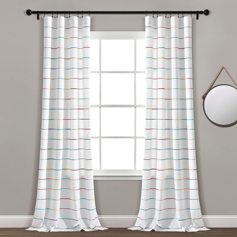 Lush Decor, Rainbow Ombre Stripe Yarn Dyed Cotton Window Curtain Panel Pair, 95