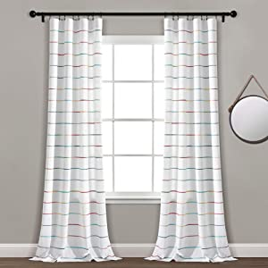 Lush Decor, Rainbow Ombre Stripe Yarn Dyed Cotton Window Curtain Panel Pair, 95