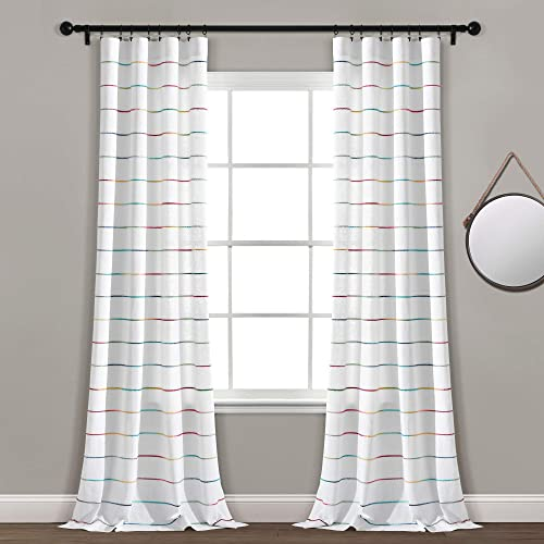 Lush Decor, Rainbow Ombre Stripe Yarn Dyed Cotton Window Curtain Panel Pair, 95 x 40