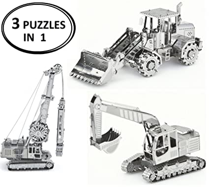 3D Metal Puzzle Models Of Construction Excavator Tractor, Front Loader  Bulldozer and Construction Crane - DIY Toy Metal Sheets Assembling Puzzle,  3D