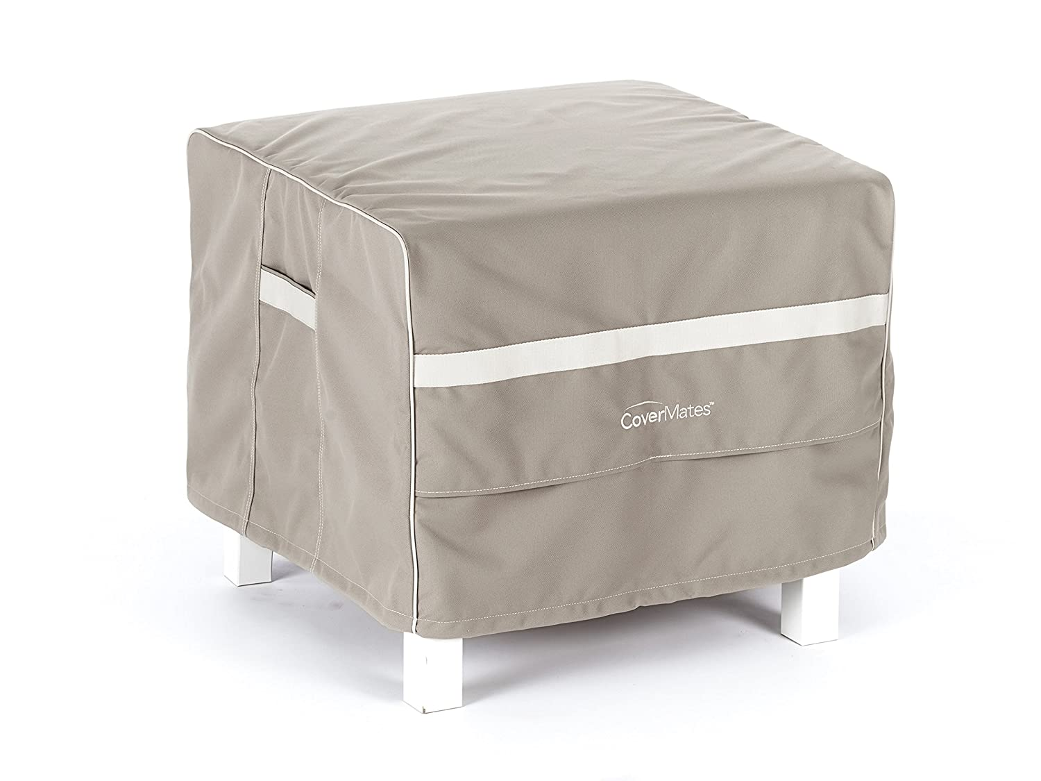 Covermates Square Ottoman Cover 52W x 52D x 25H Prestige 900D Polyester Front Back Covered Vents Reinforced Handles 7 YR Warranty Weather Resistant – Clay