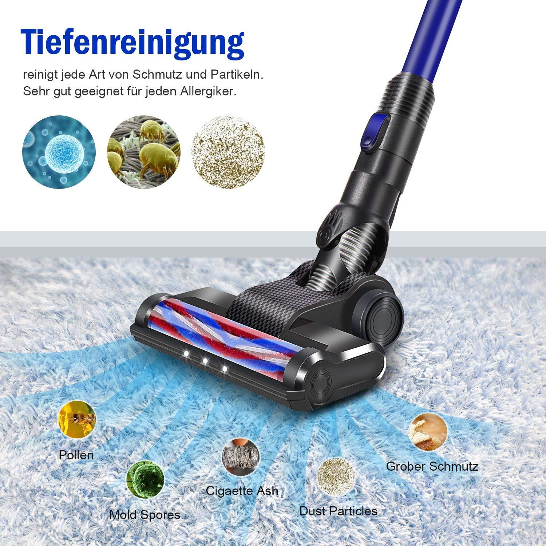 Colore Blu Forte Potenza 17kpa DEENKEE,Scopa Elettrica Senza Fili Aspirapolvere Con 4 In 1 Sostenibile Per 35 Minuti