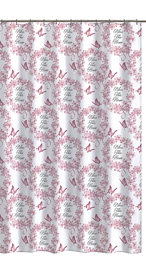 Pink White Fabric Shower Curtain Country Floral Butterfly Design