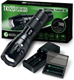 Complete LED Tactical Flashlight Kit - EcoGear FX TK120: Handheld Light with 5 Light Modes, Water Resistant, Zoomable - Best Outdoor, Everyday Flashlights with Rechargeable Batteries, Battery Charger