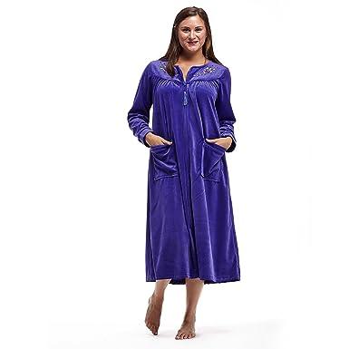 La Cera Long Sleeve Zip Front Robe Plus Size At Amazon Womens