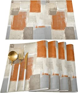 Orange Gray Placemats Set of 6, Cotton Linen Heat Resistant Table Mats Non-Slip Washable Burnt Orange Brown Gray Graffiti Paint Art Placemat for Holiday Banquet Dining Table Kitchen Decor