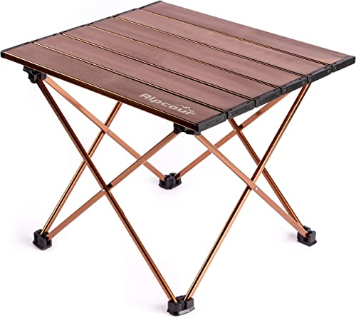 Alpcour Portable Camping Table Lightweight, Compact Folding Side Table in a Bag with Aluminum Top Heavy Duty Hinge for Easy Travel Storage Great for Outdoor BBQ, Backpacking, Tailgate More