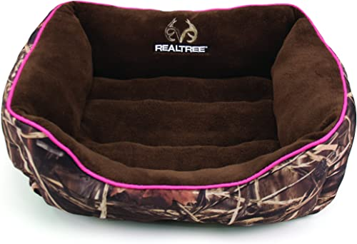 Dallas Manufacturing Co. Realtree Box Pet Bed for Dogs and Cats, Bolstered Walls for Support and Comfort, 100 Recycled Polyster Fill, Camo with Pink Piping, 25in x 21in
