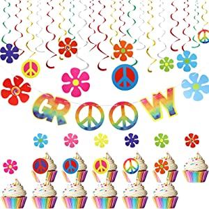 37 Pieces 60's Hippie Groovy Party Decorations Kit Groovy Banner 12 Pieces Retro Flower Peace Sign Hanging Swirls and Cards 24 Pieces Cupcake Toppers for 60s Hippie Theme Party Woodstock Party Supply