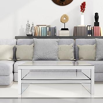 foxhunter modern mirrored furniture glass coffee table 2 tier desk