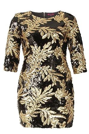 73185db52c4 fashion icon Black Gold Sequin Sequinned Leaf 3 4 Sleeve Mini Bodycon Plus  Size 8-24  Amazon.co.uk  Clothing