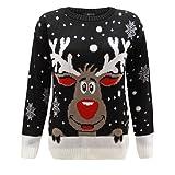 Kids Girls Boys Knitted Reindeer Christmas Rudolf Xmas Novelty Jumper Sweater Top 2-14