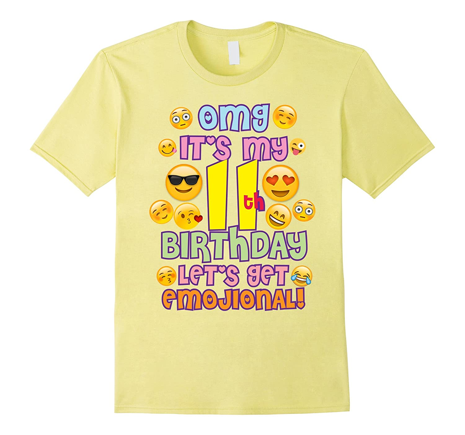 Emoticon Birthday Shirt For Girls 11 Years Old Emoji TShirt RT