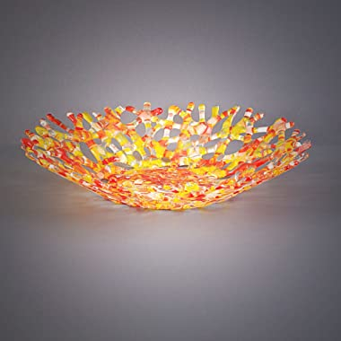 Modern Glass Art Coral Sculpture Fruit Bowl in Red & Yellow