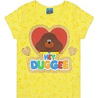 Hey Duggee Girl's T-Shirt Yellow Short Sleeve Glitter Heart Kids Tee