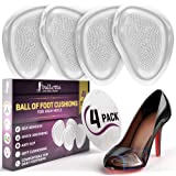 Premium Ball of Foot Cushions for Women, Extra Soft Reusable Metatarsal Foot Pads for Pain Relief, Prevent Blisters and Calluses, Fits Any Shoes, 4 Invisible Pads