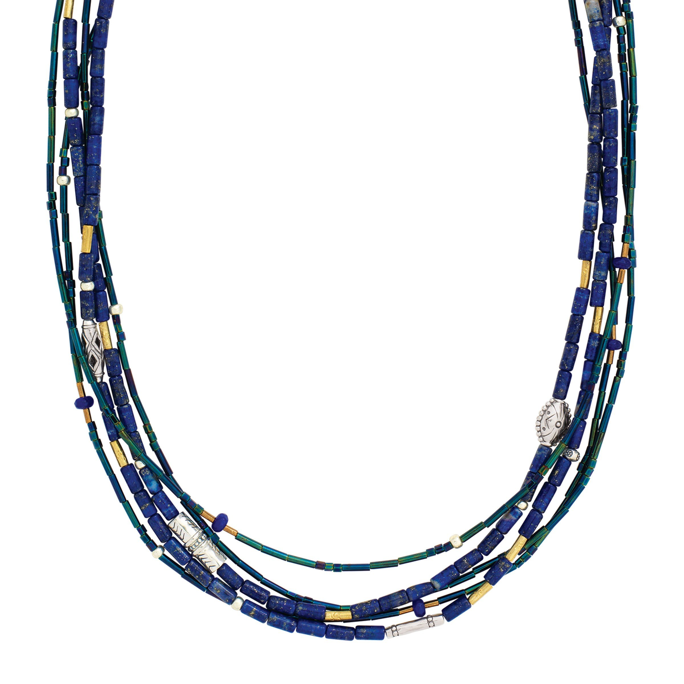 Silpada 'Into the Blue' Natural Lapis & Quartzite Multi-Strand Necklace in Sterling Silver & Brass by Silpada