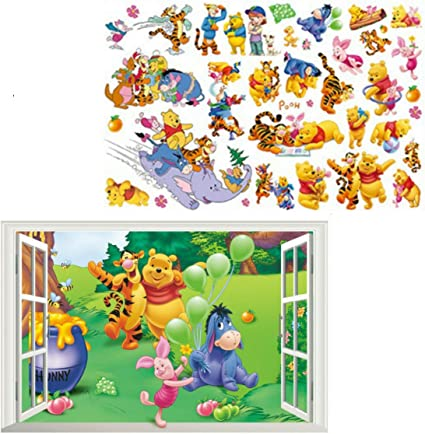 Kibi 2PCS Stickers Muraux Winnie lourson Winnie lourson et Amis Stickers muraux Autocollants Winnie lourson