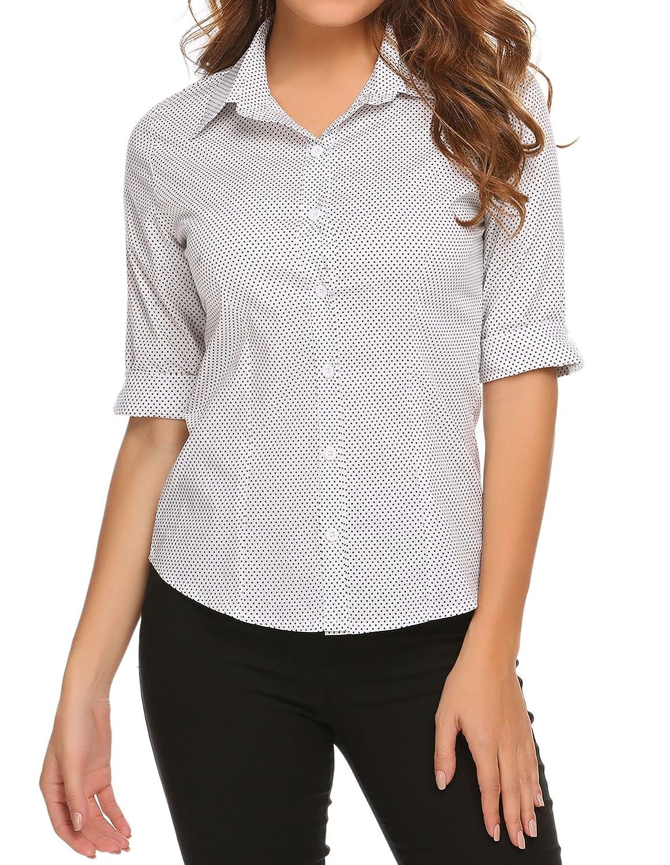 BeautyUU Damen 3/4 Ärmel Shirt Hemd Casual Bluse Einfarbig Oberteil Hemdbluse Damenbluse Shirtbluse Baumwolle