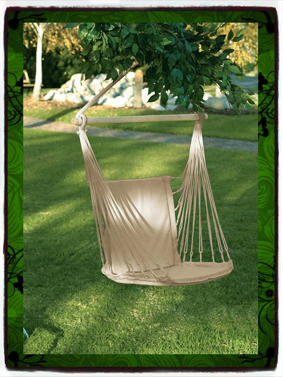 Deluxe Air Hammock Hanging Patio Tree Sky Swing Chair Outdoor Porch Lounge Furniture Padded Cotton Garden Seat Set Chairs Swings Swinging Solid Wood New Guarantee – – It Only Comes Along with Our Company s Ebook