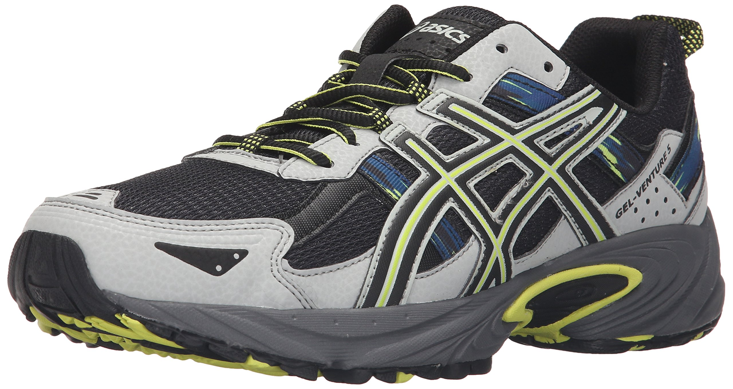 ASICS Men's Gel-Venture 5 Trail Runner, Dark Steel/Black/Neon Lime, 8 M US