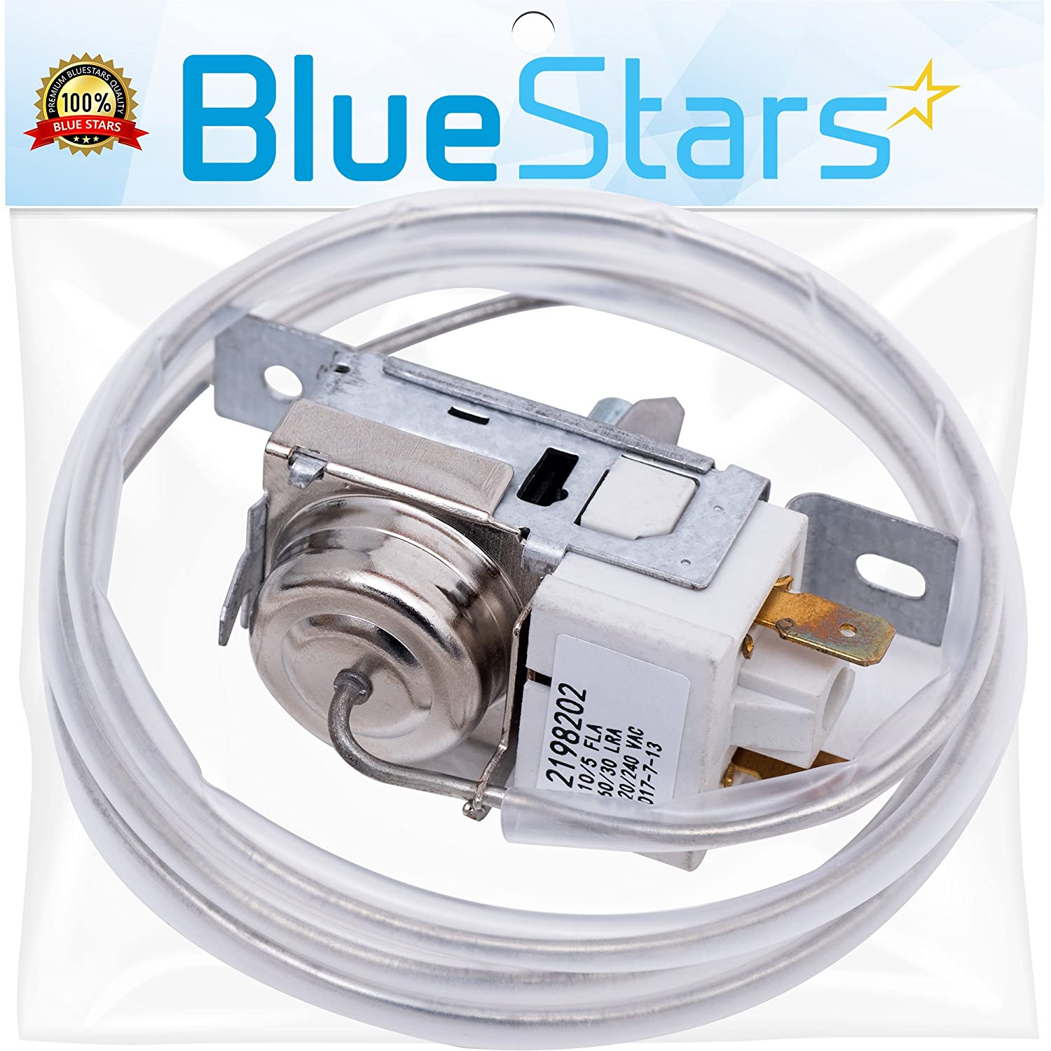 Ultra Durable 2198202 Refrigerator Cold Control Thermostat Replacement by Blue Stars - Exact Fit for Whirlpool & Kenmore Fridge - Replaces 2161284 2198201