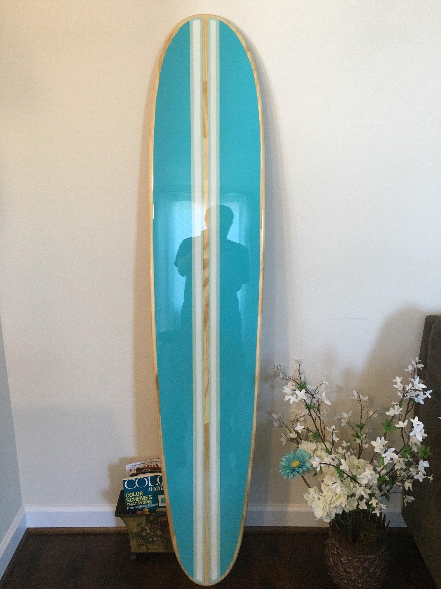 Surfboard wall hanging. Six foot surfboard wall art. Sea Breeze blue.