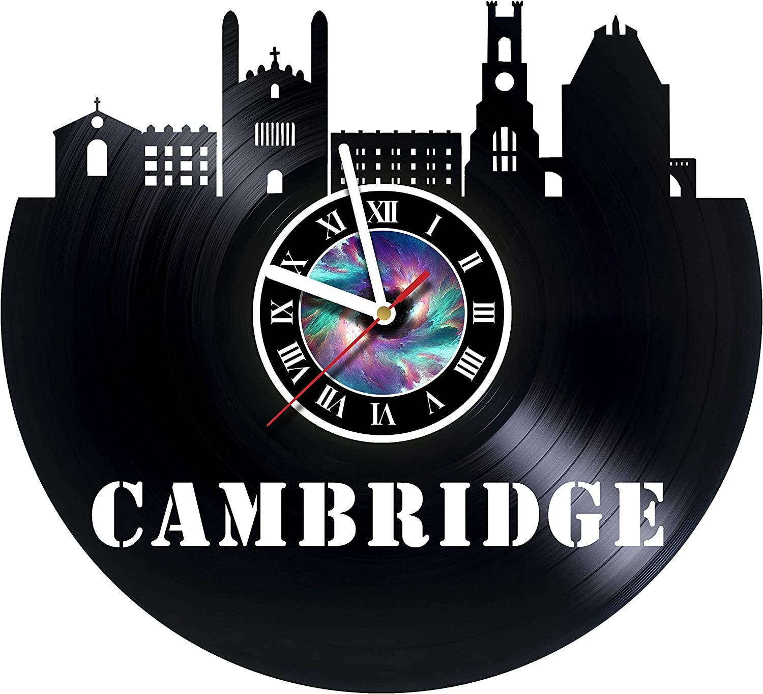 Amazon Com Steparthouse Cambridje Handmade Vinyl Wall Clock Get Unique Gifts Presents For Birthday Christmas Ideas For Boys Girls Men Women Adults Him And Her Unique Design Home Kitchen