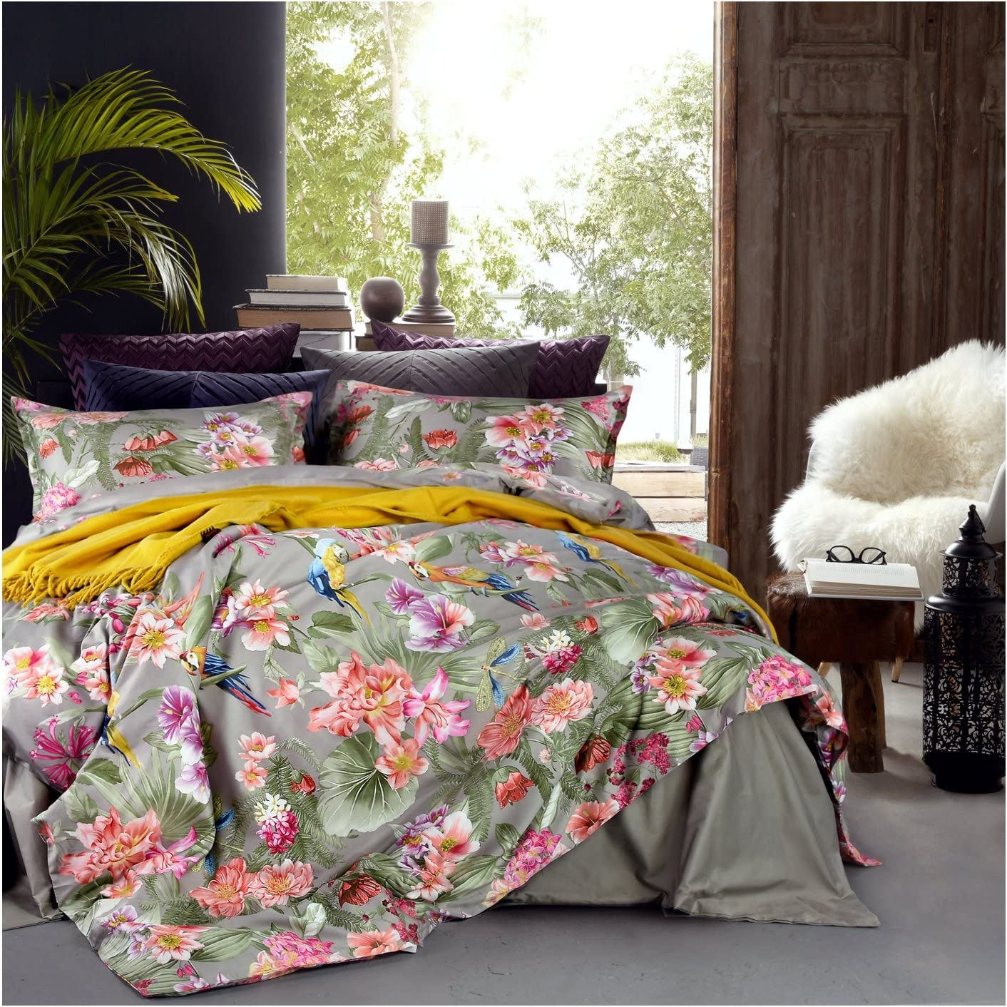 Eikei Vintage Botanical Flower Print Bedding 400tc Cotton Sateen Romantic Floral Scarf Duvet Cover 3pc Set Colorful Antique Drawing of Summer Lilies Daisy Blossoms (King, Taupe)