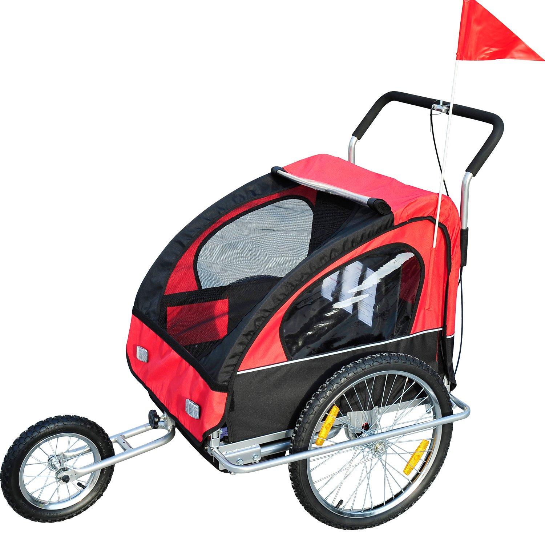 2in1 Jogger Kinderanhänger Fahrradanhänger Kinder Radanhänger 5 Farben zur Auswahl Neu (Rot-schwarz)
