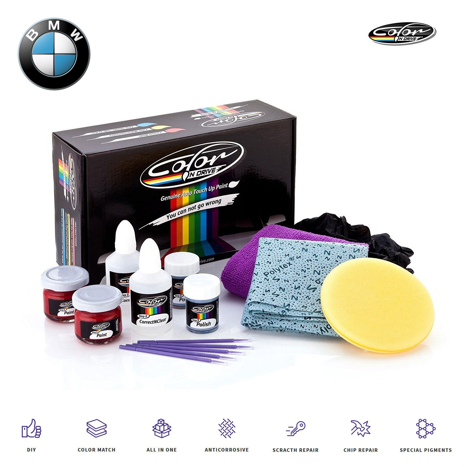 Color N Drive Cashmere Silver Metallic - A72 Touch Up Paint Kit Compatible with All BMW Models for Paint Scratch and Chips Repair - OEM Quality, Exact Color Match - Pro Pack