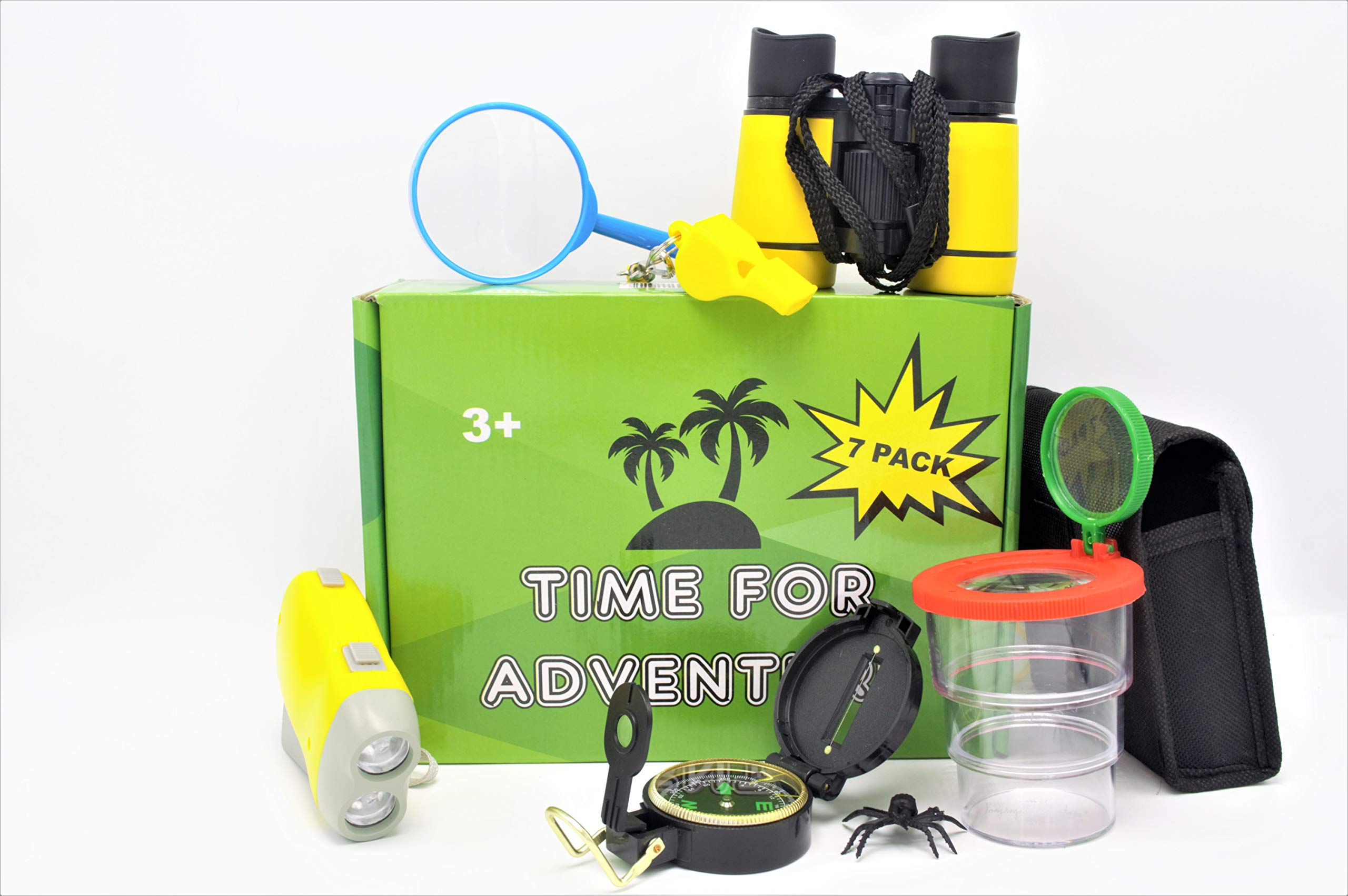 Time for Adventure Educational Outdoor Explorer Kit for Children - Binoculars, Flashlight, Compass, Magnifying Glass, Bug Collector, Whistle & Backpack - Great Gift Set for Birthday, Holiday, Camping
