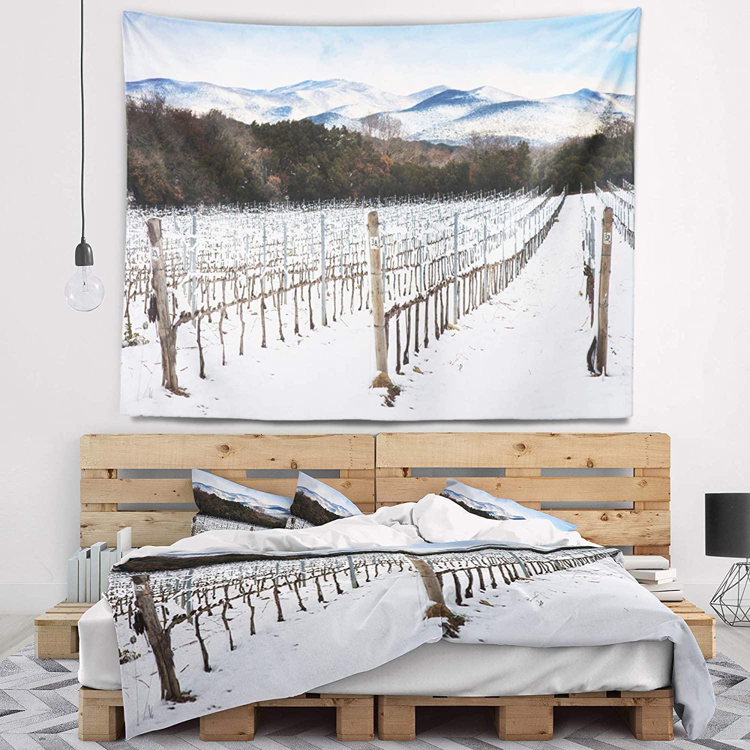 Designart TAP12375-80-68 Snow Covered Vineyard Rows Italy Wall Tapestry X-Large//80 x 68