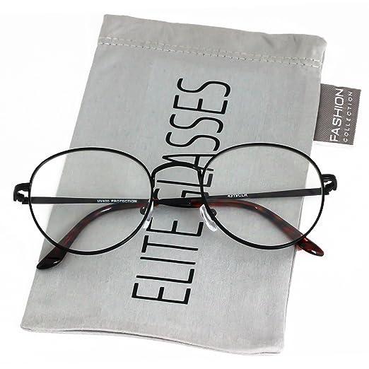 6917ab70b06a VINTAGE RETRO Nerd Style Clear Lens Round Gold Silver Frame Men Women EYE  GLASSES (Black