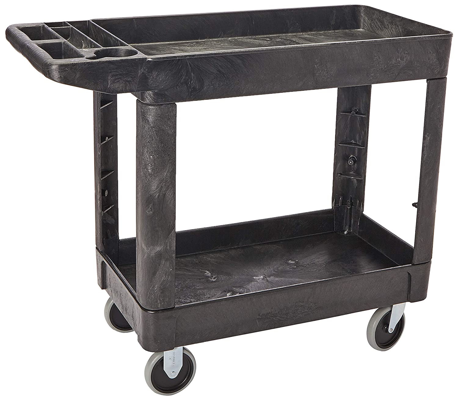 Rubbermaid Commercial Products 2-Shelf Utility/Service Cart, Small, Lipped Shelves, Storage Handle, 500 lbs. Capacity, for Warehouse/Garage/Cleaning/Manufacturing (FG450089BLA)
