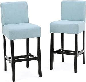 Christopher Knight Home 299480 Lopez Fabric Barstool (Set of 2), Light Blue